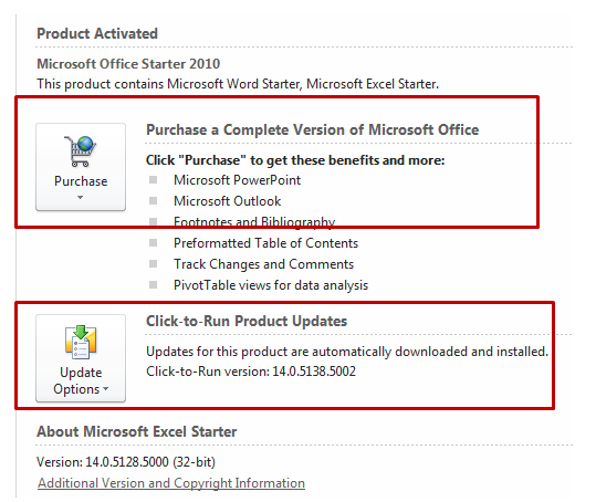 Click-to-Run or Starter Editon of Microsoft Office
