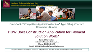 How does Construction Application for Payment Solution work with QuickBooks to generate AIA Billings?